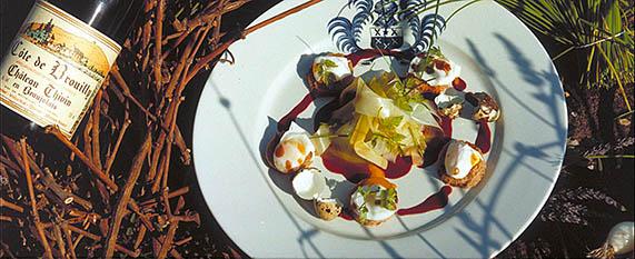 Meurette d'oeufs de caille des Dombes sauce au vin réduit de Bagnols