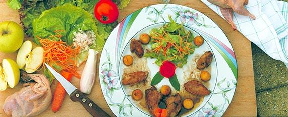 Salade de cailles des Dombes aux pommes et vinaigre de cidre
