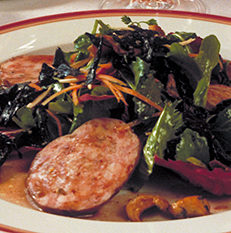 Salade de sabodet au Régnié et champignons des bois